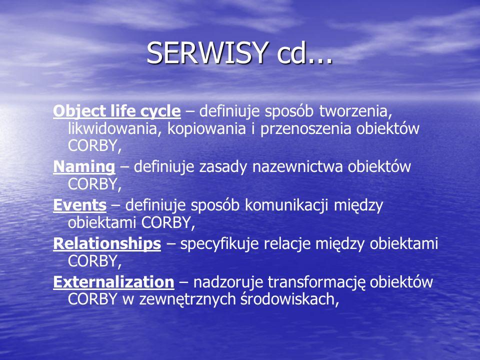 SERWISY cd... Object life cycle – definiuje sposób tworzenia, likwidowania, kopiowania i przenoszenia obiektów CORBY,