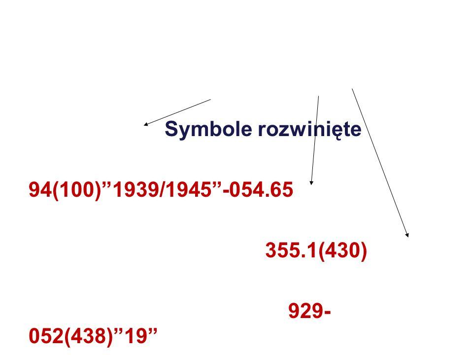 Symbole rozwinięte 94(100) 1939/1945 -054.65 355.1(430) 929-052(438) 19