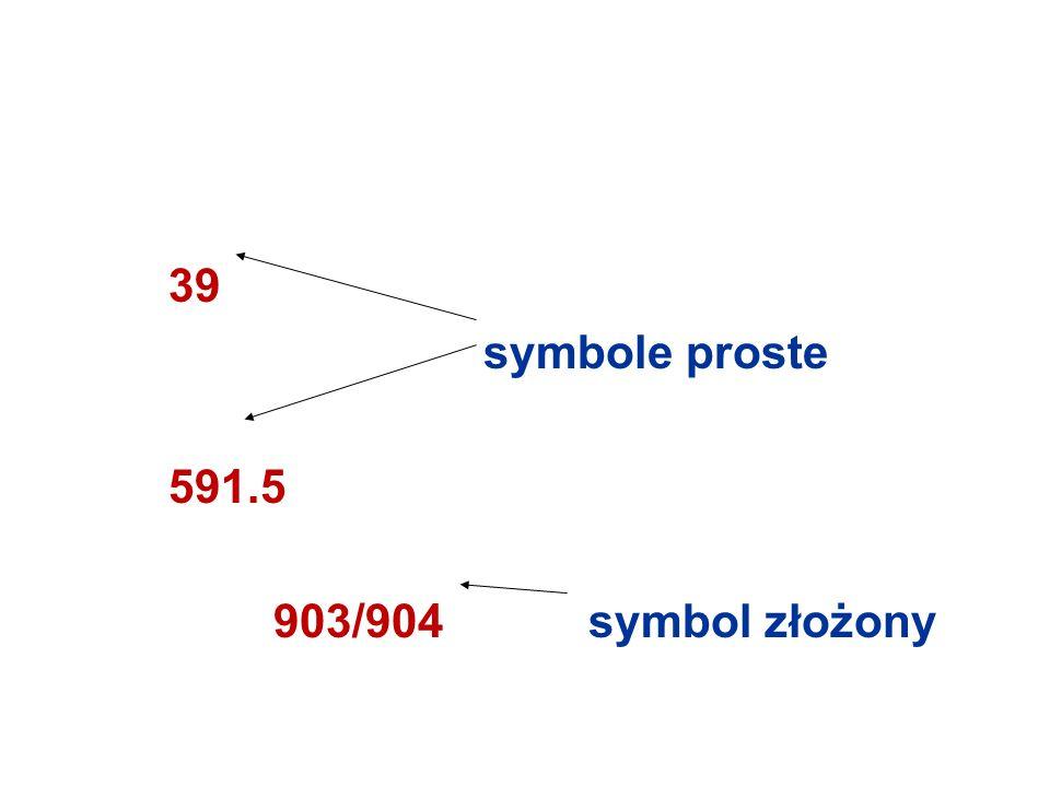 39 symbole proste 591.5 903/904 symbol złożony