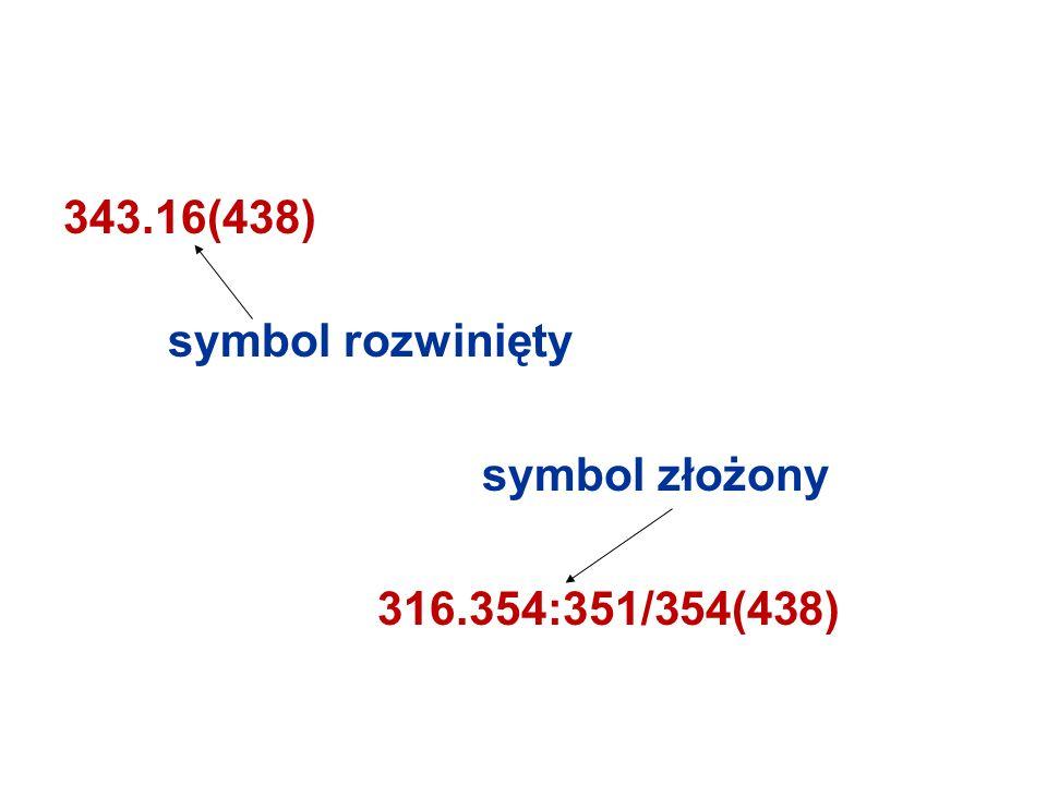 343.16(438) symbol rozwinięty symbol złożony 316.354:351/354(438)