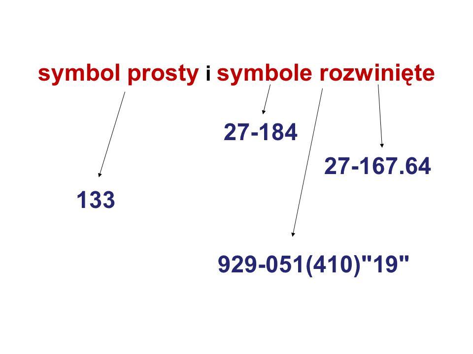 symbol prosty i symbole rozwinięte