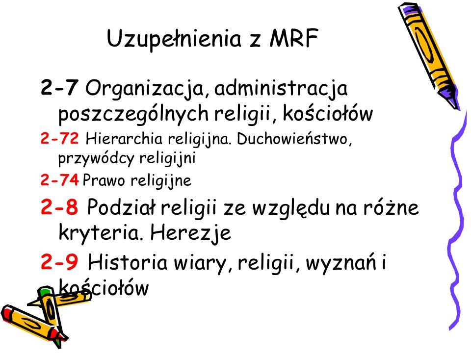 Uzupełnienia z MRF 2-7 Organizacja, administracja poszczególnych religii, kościołów. 2-72 Hierarchia religijna. Duchowieństwo, przywódcy religijni.