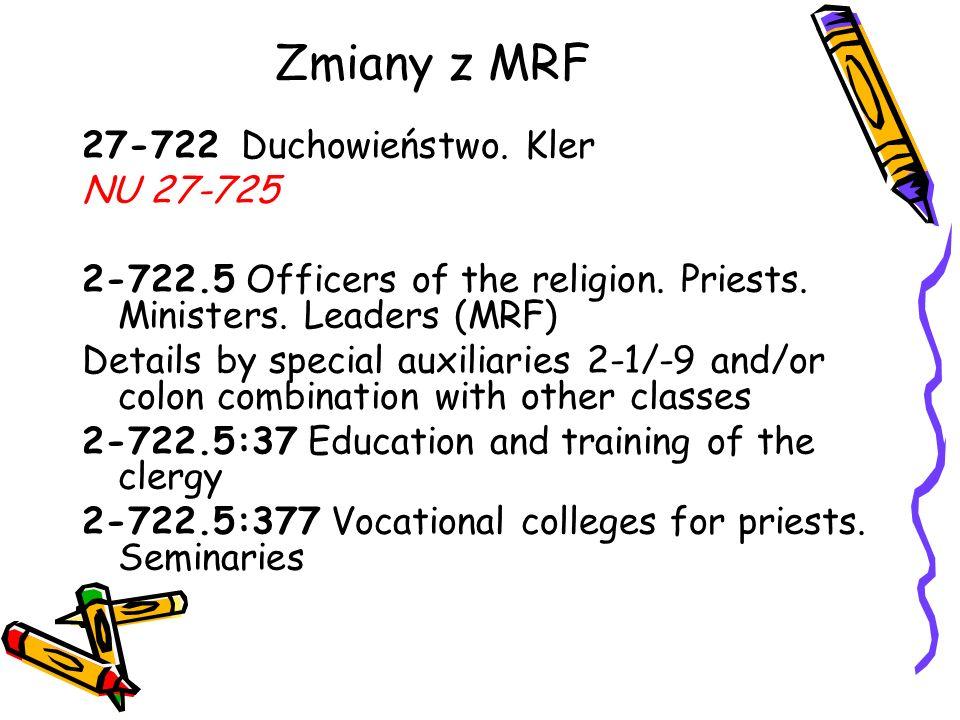 Zmiany z MRF 27-722 Duchowieństwo. Kler NU 27-725