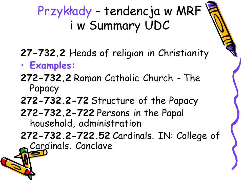 Przykłady - tendencja w MRF i w Summary UDC