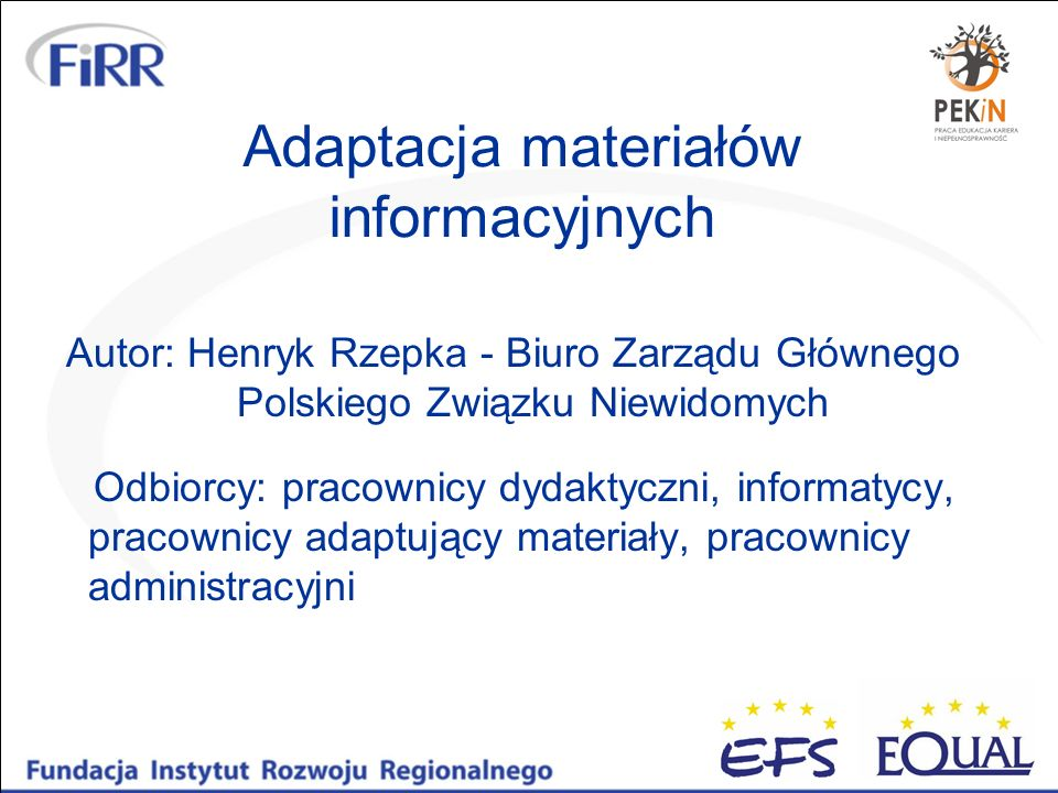 Adaptacja materiałów informacyjnych