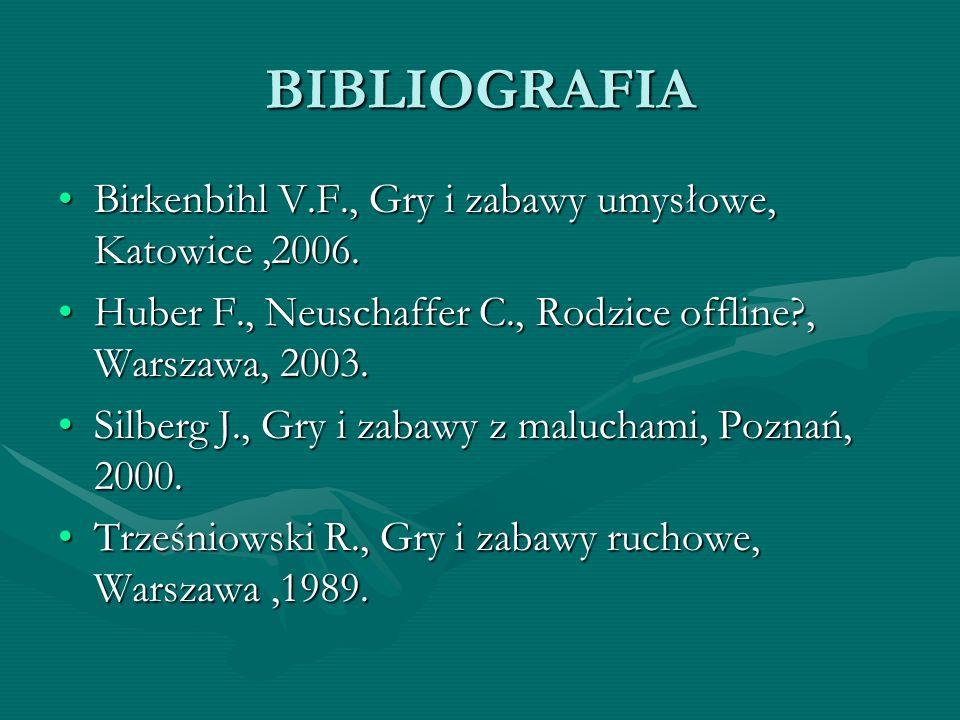 BIBLIOGRAFIA Birkenbihl V.F., Gry i zabawy umysłowe, Katowice ,2006.