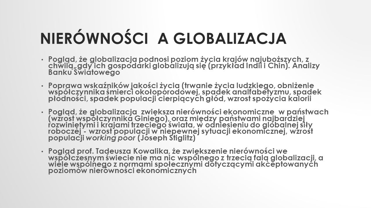 Nierówności a Globalizacja