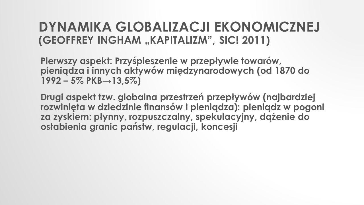 """Dynamika globalizacji ekonomicznej (Geoffrey Ingham """"Kapitalizm , Sic"""