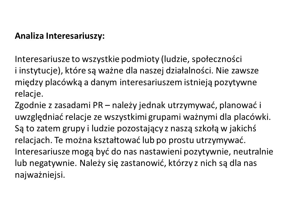 Analiza Interesariuszy: