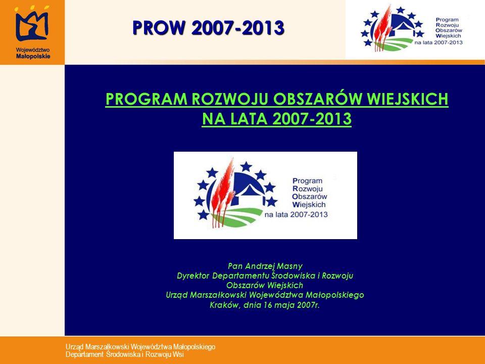 PROW 2007-2013 PROGRAM ROZWOJU OBSZARÓW WIEJSKICH NA LATA 2007-2013