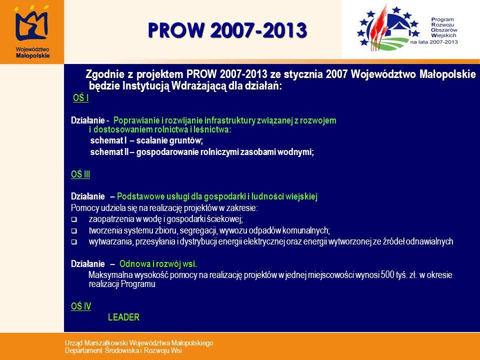 PROW 2007-2013 Zgodnie z projektem PROW 2007-2013 ze stycznia 2007 Województwo Małopolskie będzie Instytucją Wdrażającą dla działań:
