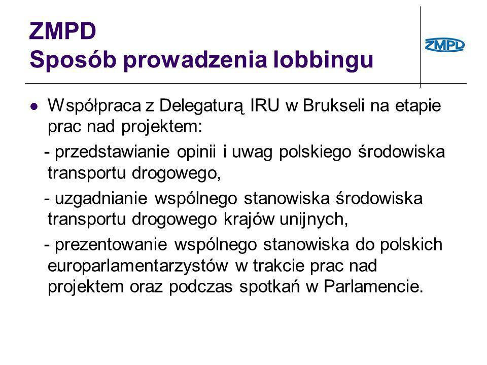 ZMPD Sposób prowadzenia lobbingu