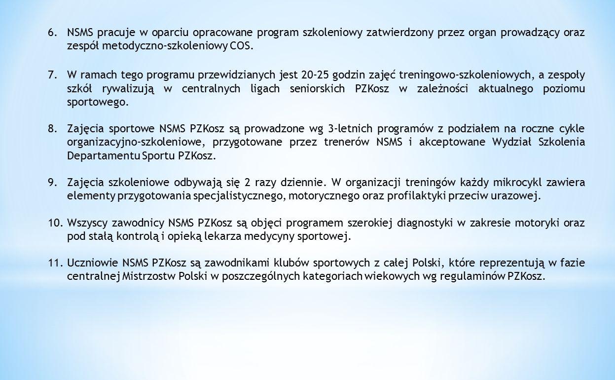 NSMS pracuje w oparciu opracowane program szkoleniowy zatwierdzony przez organ prowadzący oraz zespół metodyczno-szkoleniowy COS.