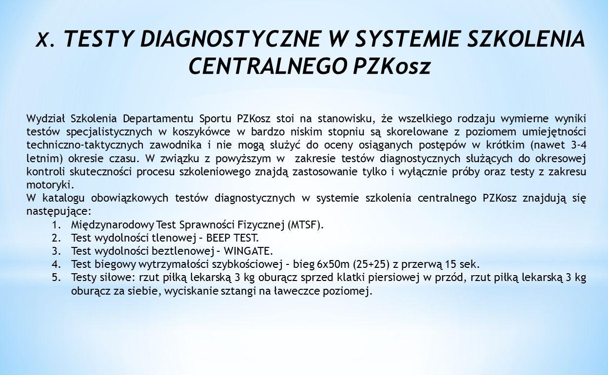 X. TESTY DIAGNOSTYCZNE W SYSTEMIE SZKOLENIA CENTRALNEGO PZKosz