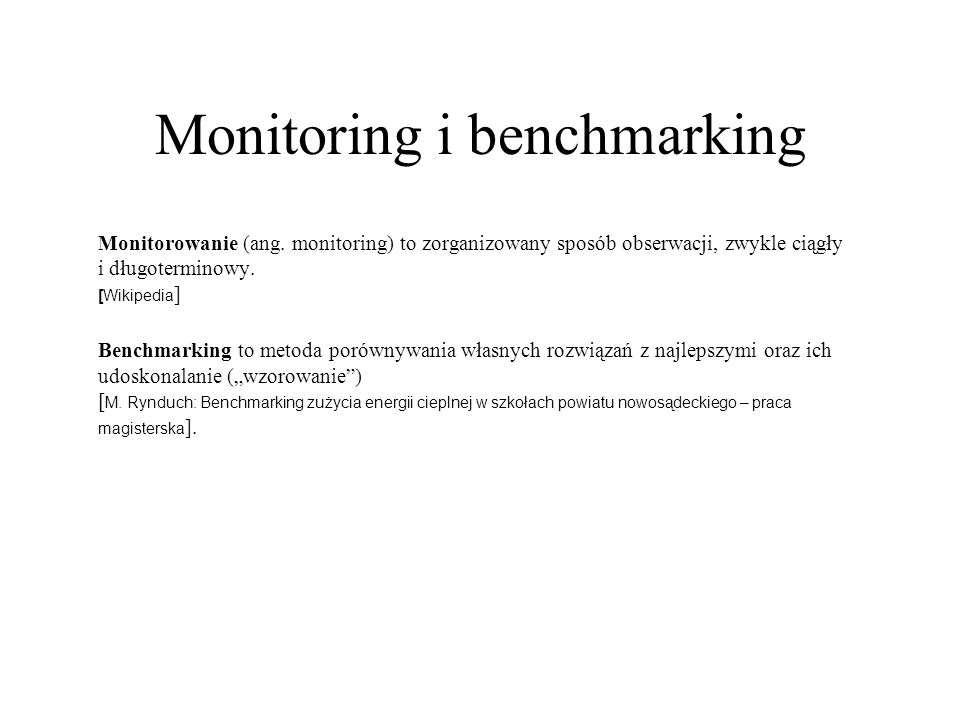 Monitoring i benchmarking