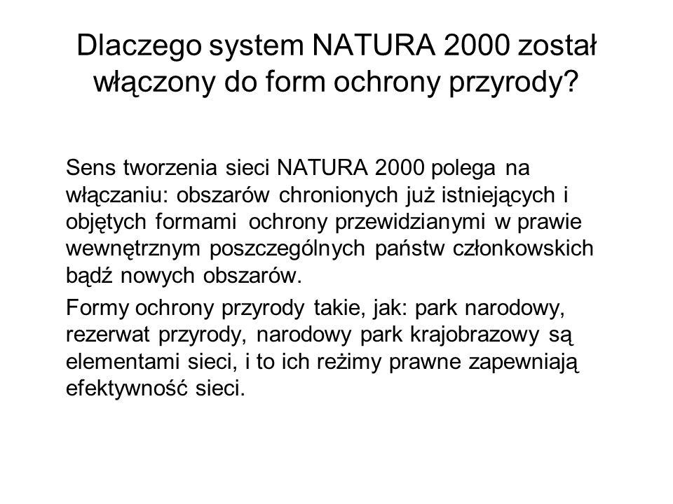 Dlaczego system NATURA 2000 został włączony do form ochrony przyrody
