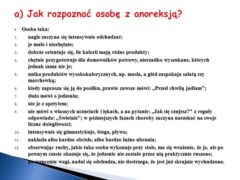a) Jak rozpoznać osobę z anoreksją
