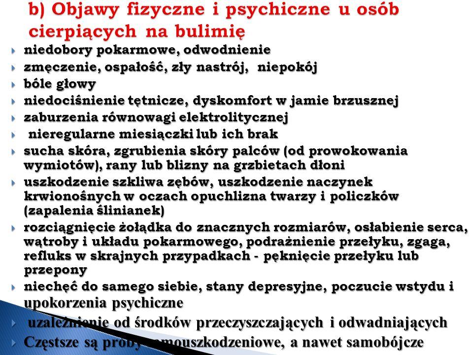 b) Objawy fizyczne i psychiczne u osób cierpiących na bulimię