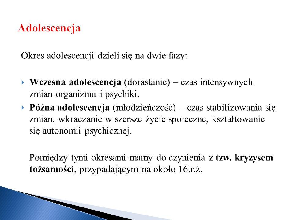 Adolescencja Okres adolescencji dzieli się na dwie fazy: