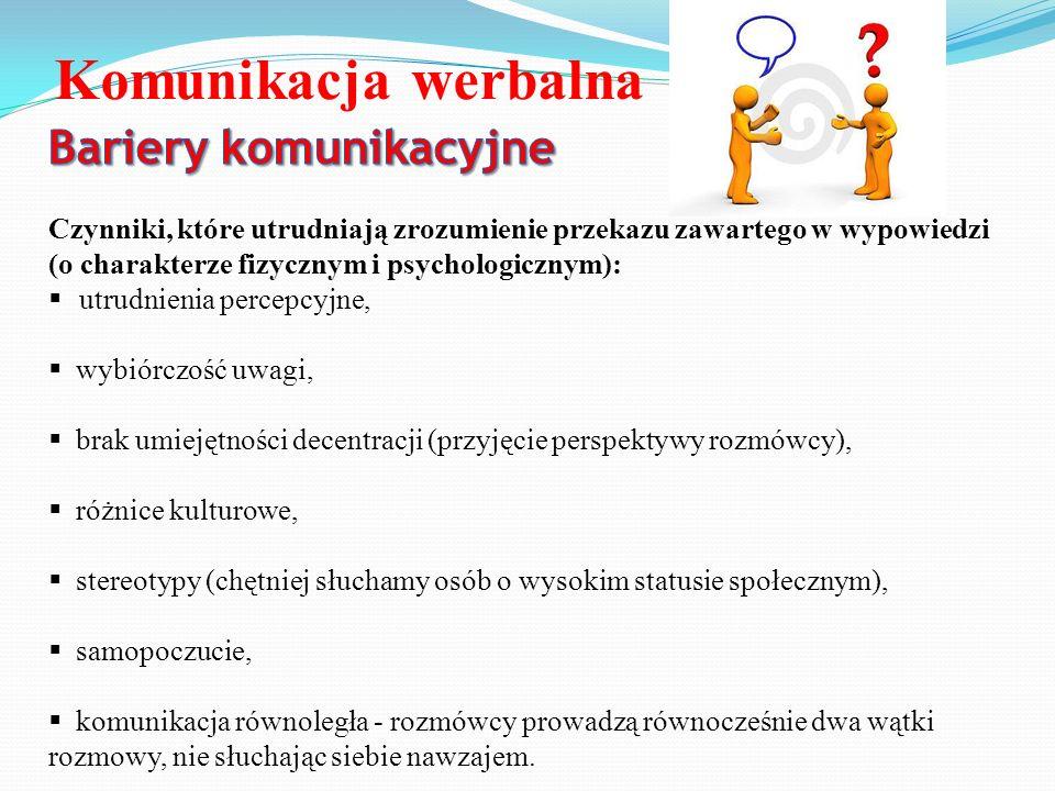 Komunikacja werbalna Bariery komunikacyjne
