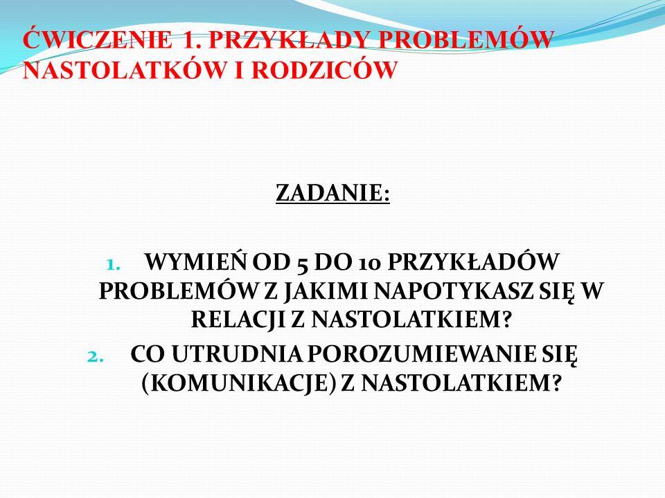 ĆWICZENIE 1. PRZYKŁADY PROBLEMÓW NASTOLATKÓW I RODZICÓW