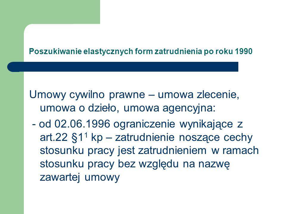 Poszukiwanie elastycznych form zatrudnienia po roku 1990