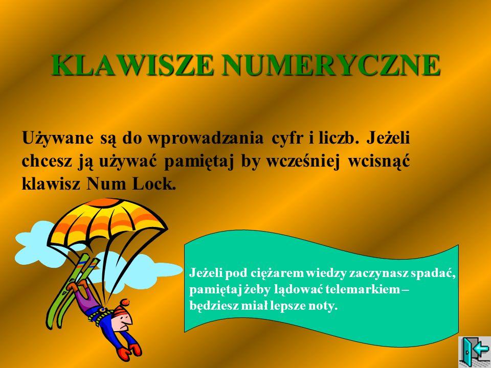 KLAWISZE NUMERYCZNE Używane są do wprowadzania cyfr i liczb. Jeżeli chcesz ją używać pamiętaj by wcześniej wcisnąć klawisz Num Lock.