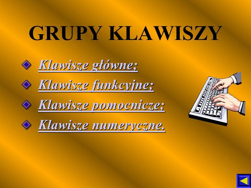 GRUPY KLAWISZY Klawisze główne; Klawisze funkcyjne;
