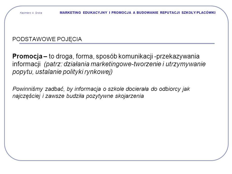 Kazimierz A. Sroka MARKETING EDUKACYJNY I PROMOCJA A BUDOWANIE REPUTACJI SZKOŁY/PLACÓWKI
