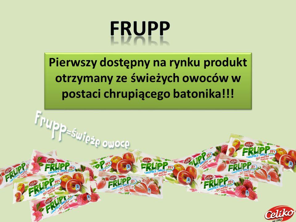 FRUPP Pierwszy dostępny na rynku produkt otrzymany ze świeżych owoców w postaci chrupiącego batonika!!!