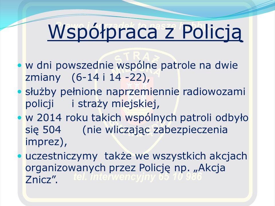 Współpraca z Policją w dni powszednie wspólne patrole na dwie zmiany (6-14 i 14 -22),