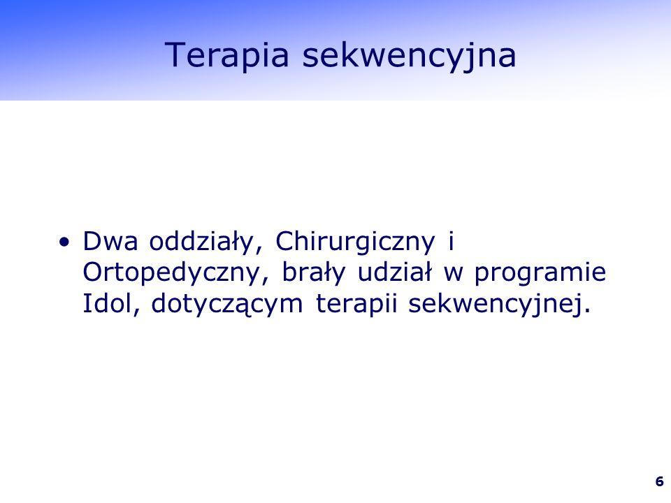 Terapia sekwencyjna Dwa oddziały, Chirurgiczny i Ortopedyczny, brały udział w programie Idol, dotyczącym terapii sekwencyjnej.