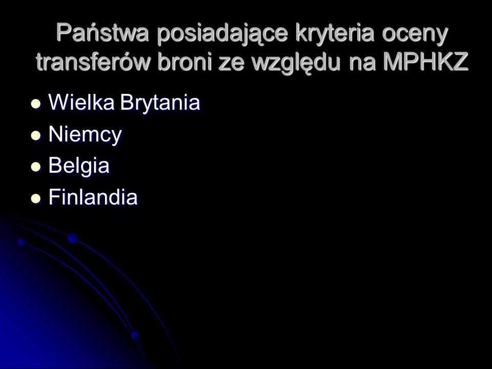 Państwa posiadające kryteria oceny transferów broni ze względu na MPHKZ