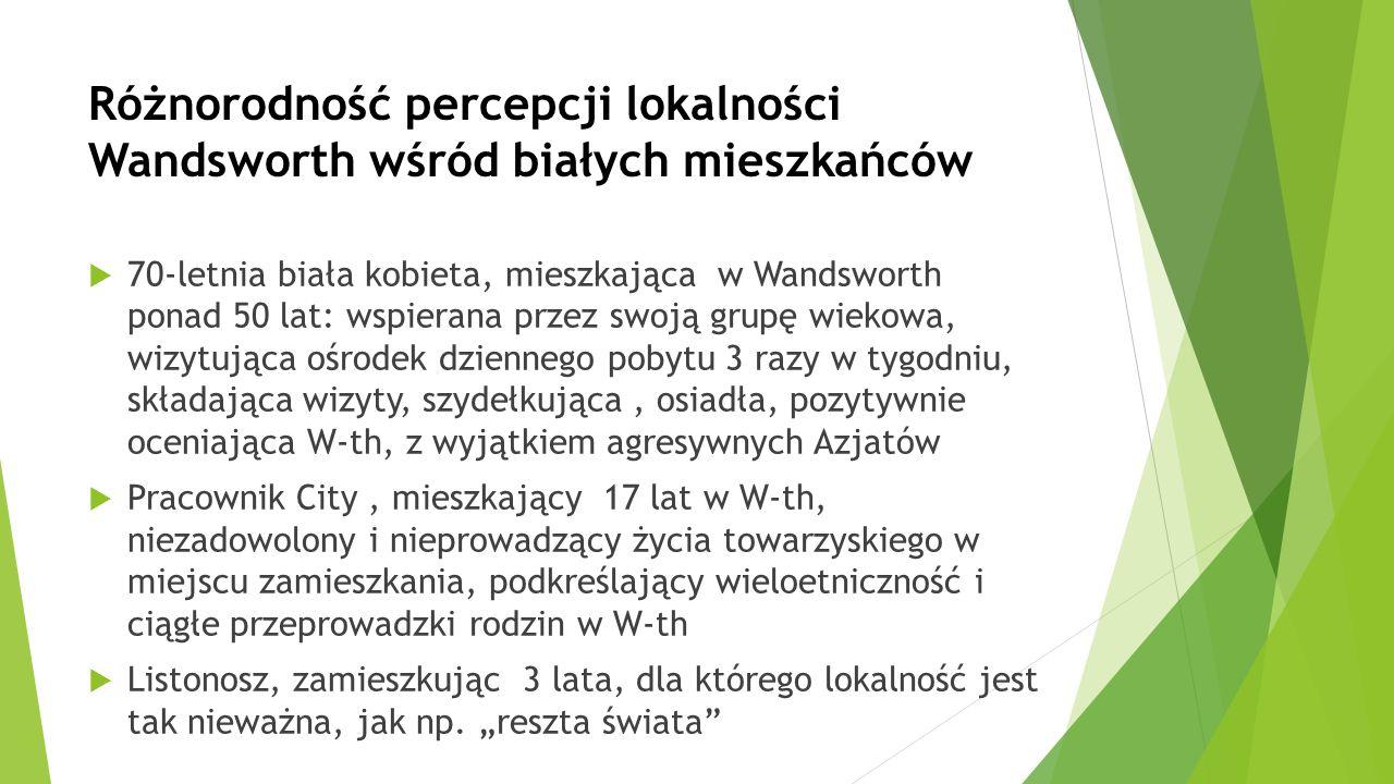 Różnorodność percepcji lokalności Wandsworth wśród białych mieszkańców