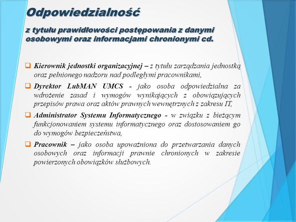 Odpowiedzialność z tytułu prawidłowości postępowania z danymi osobowymi oraz informacjami chronionymi cd.