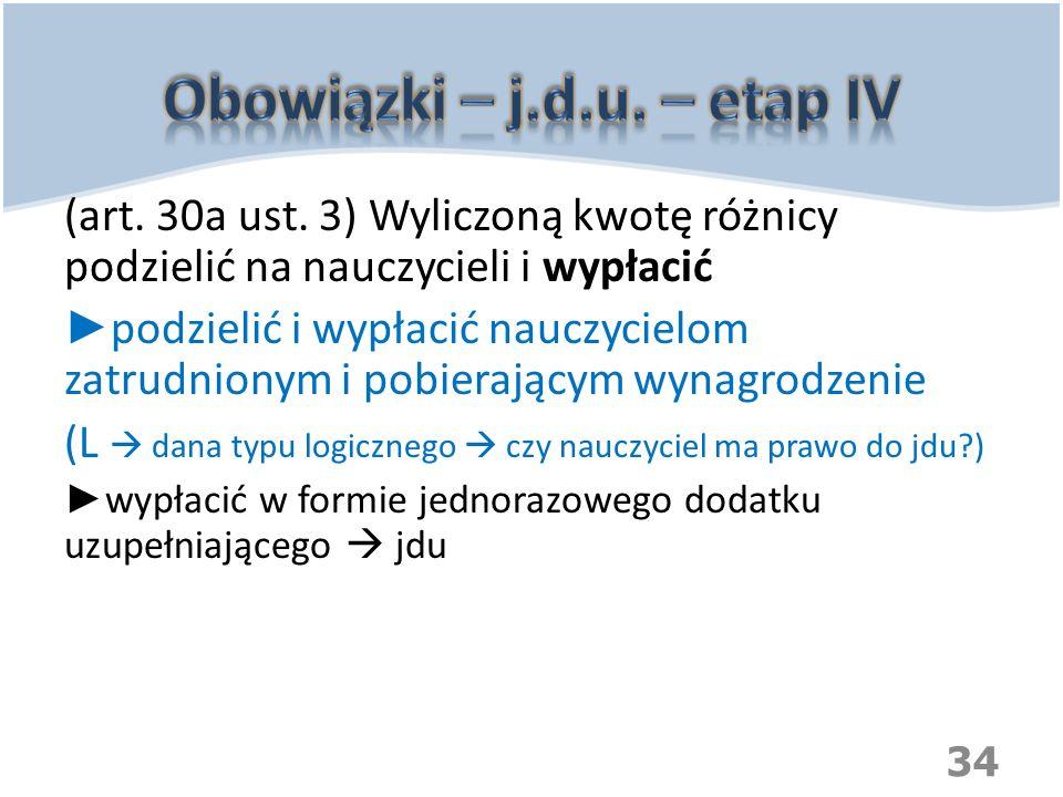 Obowiązki – j.d.u. – etap IV