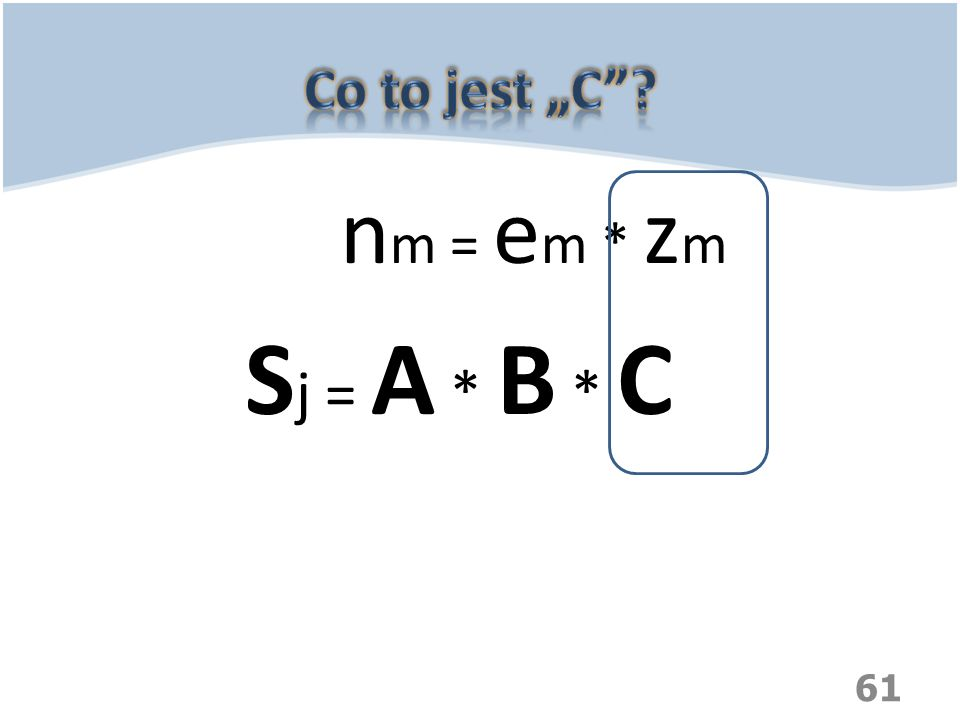 "Co to jest ""C nm = em * zm Sj = A * B * C"