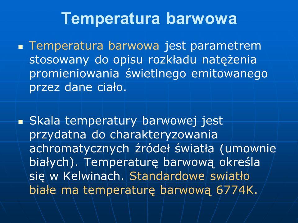 Temperatura barwowa Temperatura barwowa jest parametrem stosowany do opisu rozkładu natężenia promieniowania świetlnego emitowanego przez dane ciało.