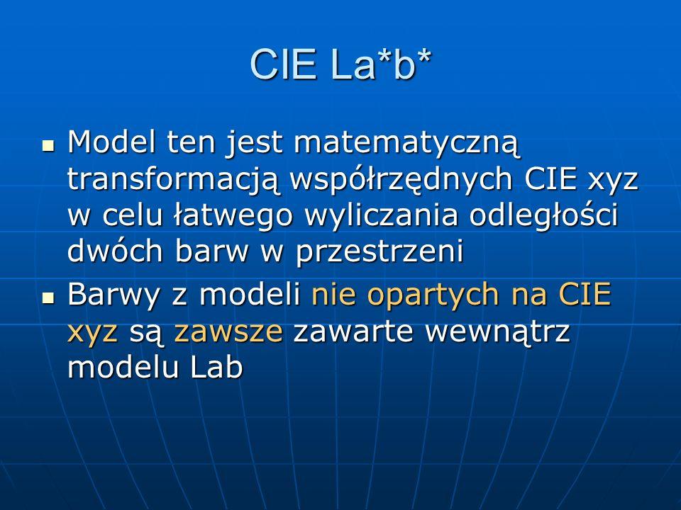 CIE La*b*Model ten jest matematyczną transformacją współrzędnych CIE xyz w celu łatwego wyliczania odległości dwóch barw w przestrzeni.