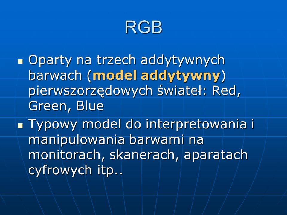 RGBOparty na trzech addytywnych barwach (model addytywny) pierwszorzędowych świateł: Red, Green, Blue.