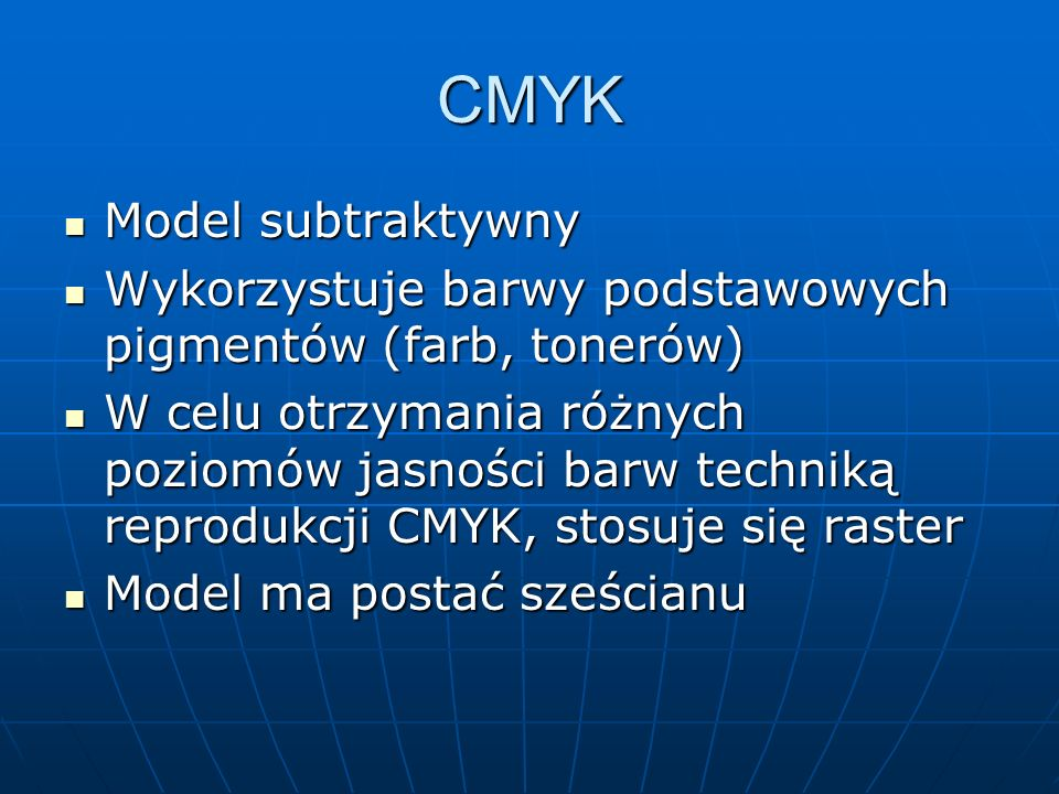 CMYK Model subtraktywny