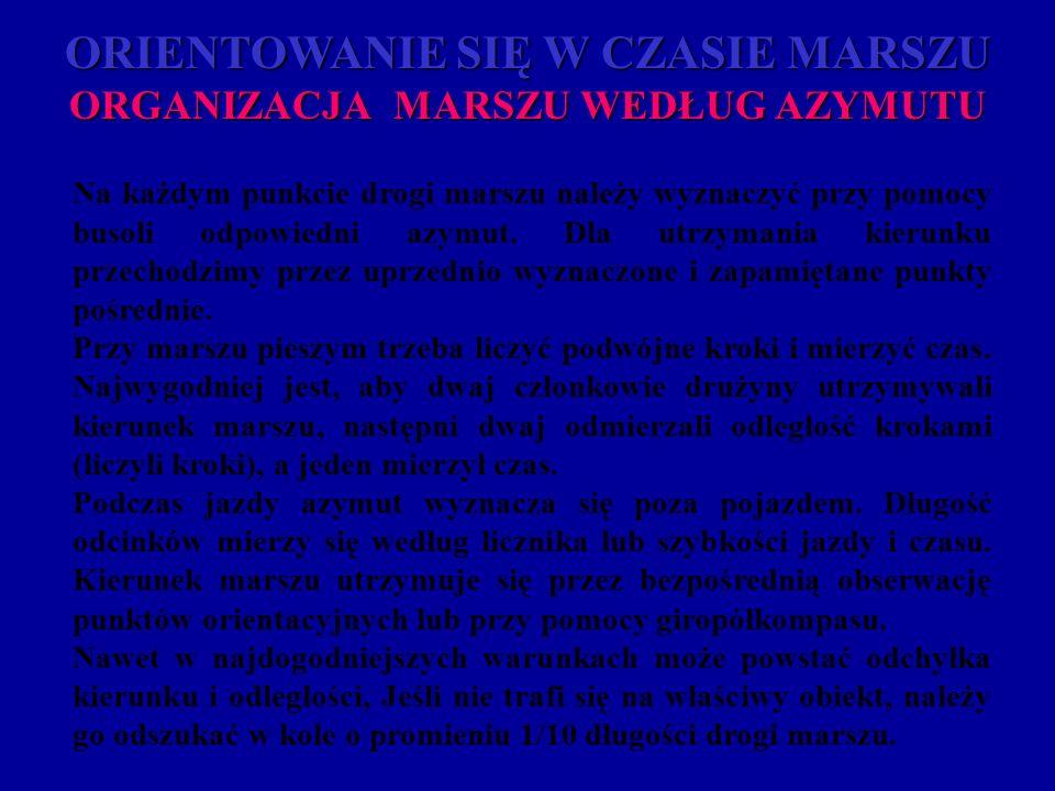 ORIENTOWANIE SIĘ W CZASIE MARSZU ORGANIZACJA MARSZU WEDŁUG AZYMUTU
