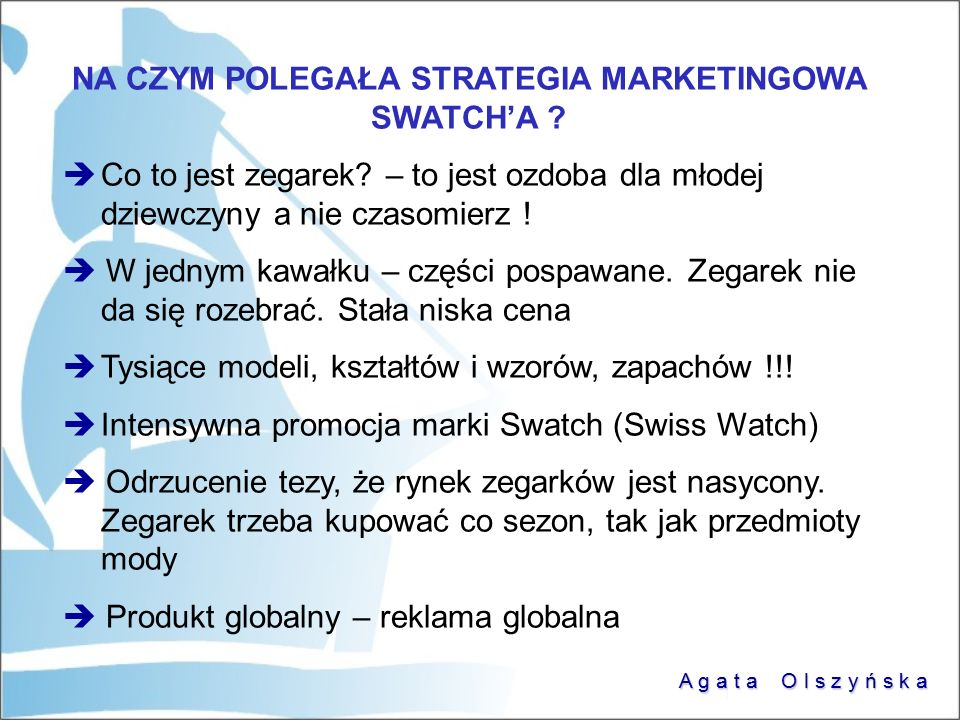 NA CZYM POLEGAŁA STRATEGIA MARKETINGOWA SWATCH'A