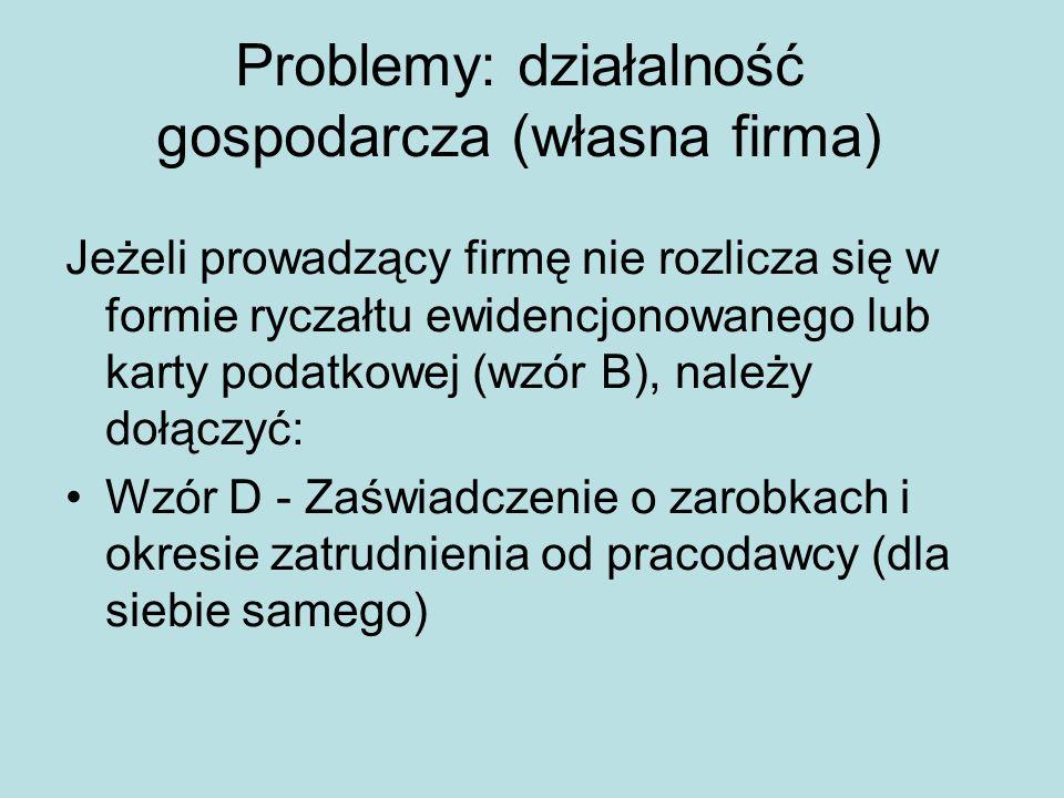 Problemy: działalność gospodarcza (własna firma)