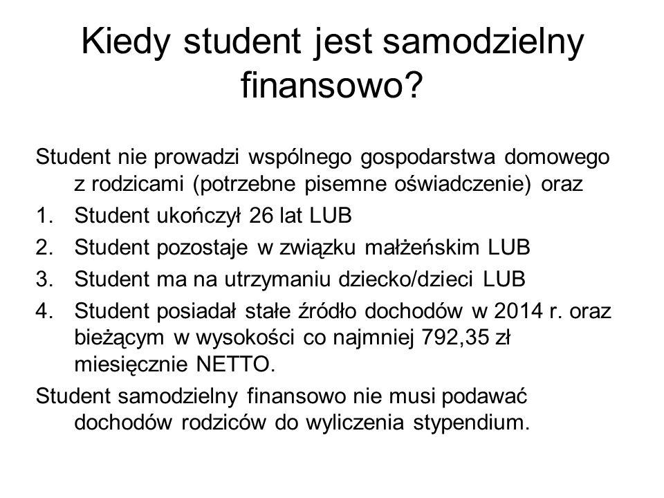 Kiedy student jest samodzielny finansowo