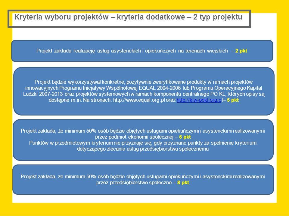 Kryteria wyboru projektów – kryteria dodatkowe – 2 typ projektu