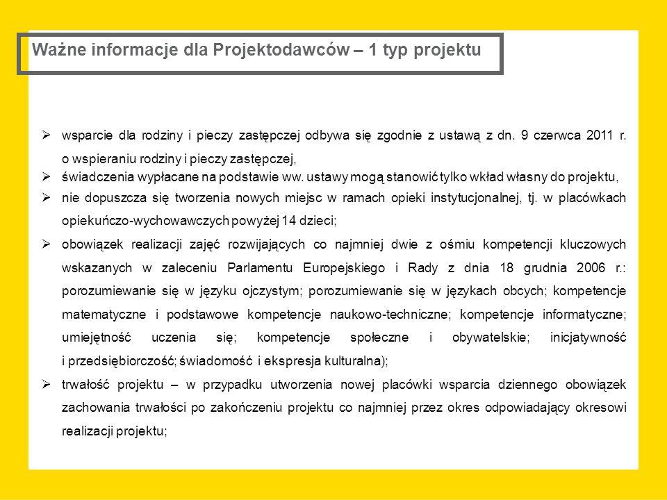 Ważne informacje dla Projektodawców – 1 typ projektu