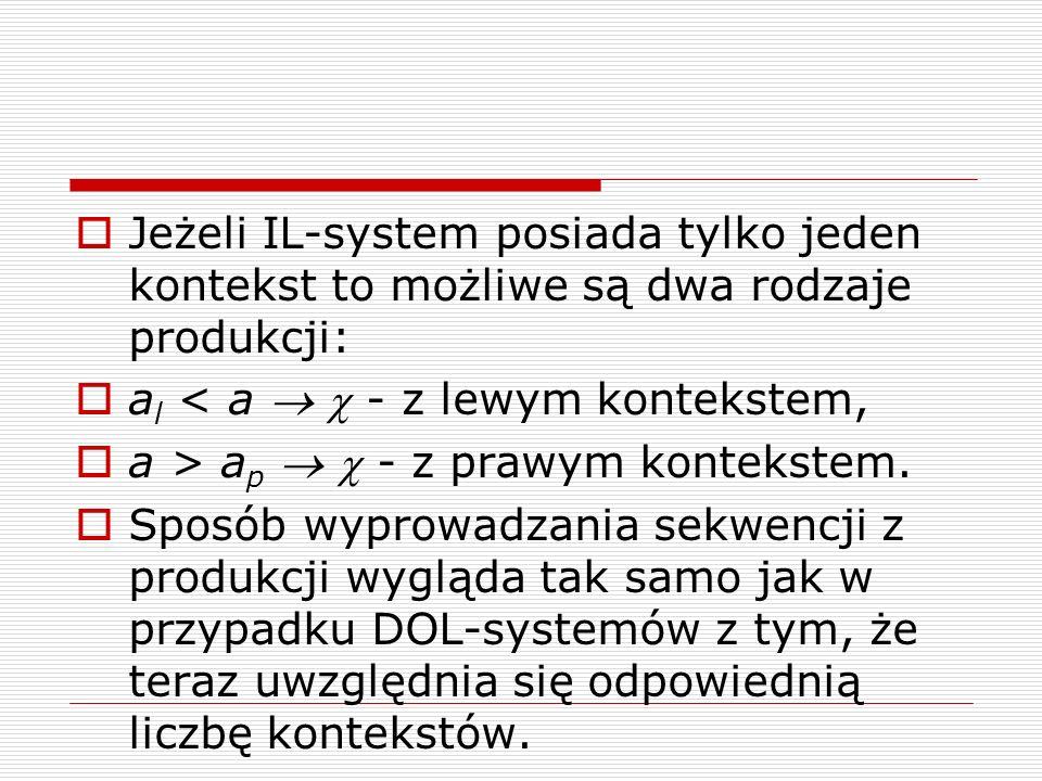 Jeżeli IL-system posiada tylko jeden kontekst to możliwe są dwa rodzaje produkcji: