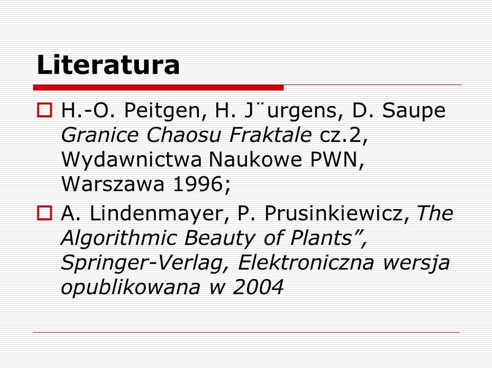 Literatura H.-O. Peitgen, H. J¨urgens, D. Saupe Granice Chaosu Fraktale cz.2, Wydawnictwa Naukowe PWN, Warszawa 1996;