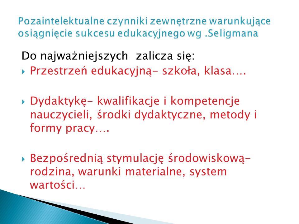 Do najważniejszych zalicza się: Przestrzeń edukacyjną- szkoła, klasa….